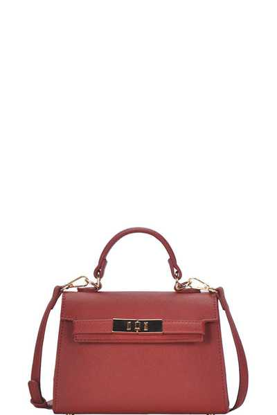 CUTE SOLID COLOR MINI SATCHEL WITH LONG STRAP