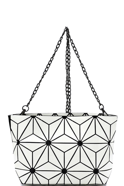 Glossy Geometric Crossbody Bag Clutch