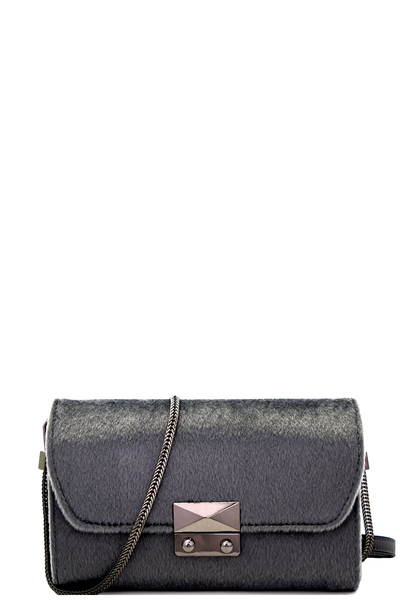 Hematite-Hardware Faux-Fur Versatile Shoulder Bag