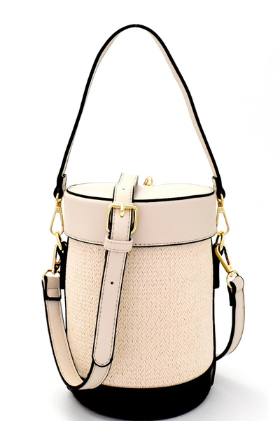Color Block Woven Straw Barrel-Shaped Shoulder Bag
