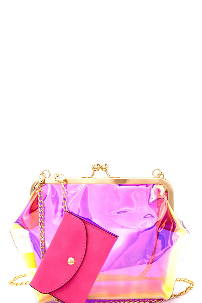 Hologram Clear Kiss-Lock Shoulder Bag with Coin Purse