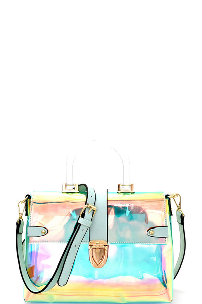 Plastic Handle Accent Hologram Clear Push-Lock Satchel