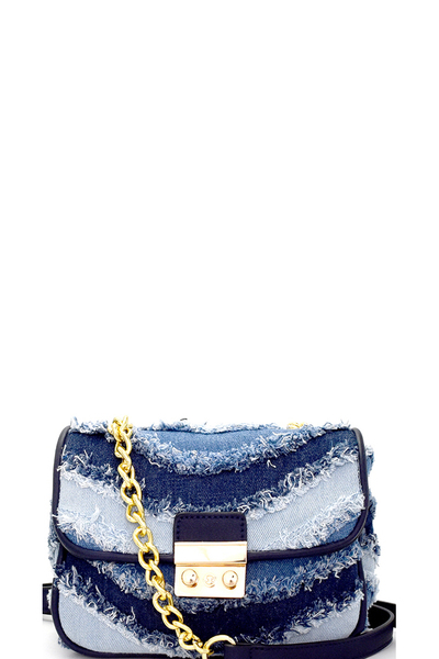Distressed Denim Patchwork Flap Shoulder Bag