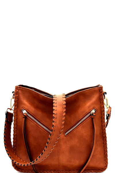 Bohemian Whipstitched Bucket Messenger Shoulder Bag