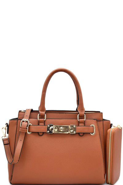 Hardware Accent Saffiano Multi Compartment Satchel With Matching Wallet