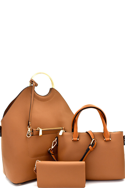 Metal Handle Accent 3 in 1 Tall Satchel Value SET