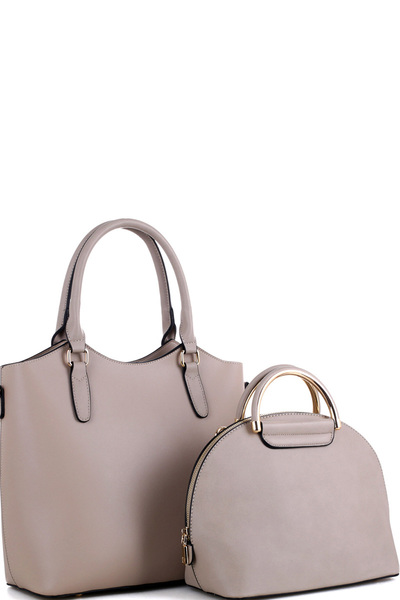 Metal Handle Dome-Satchel 2 in 1 Tote Value SET