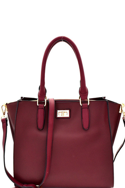 Turn-Lock Accent 3-Compartment Wing Satchel