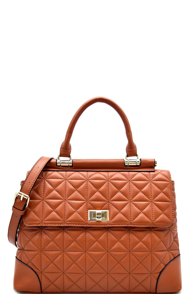Turn-lock Flap Quilted Satchel