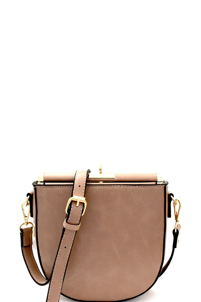 Flip-Lock Top Frame Cross Body Shoulder Bag