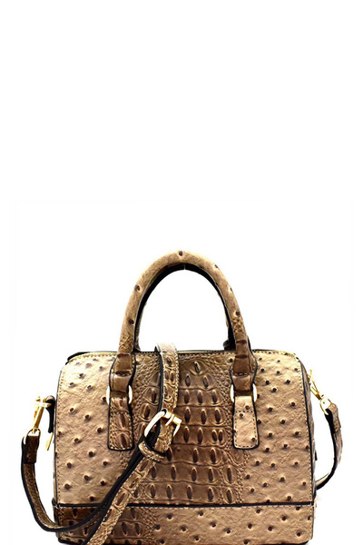 Ostrich Embossed Medium 2-Way Boston Satchel