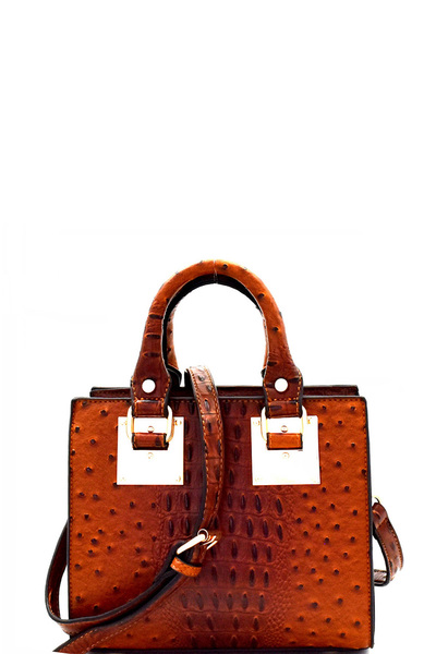Ostrich Embossed Medium 2-Way Structured Satchel