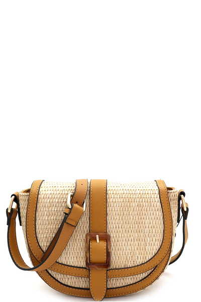 Woven Straw Mixed-Material Buckle Shoulder Bag