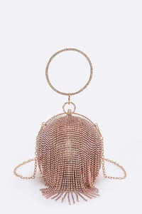 Rhinestone Statement Ball Pendant Clutch
