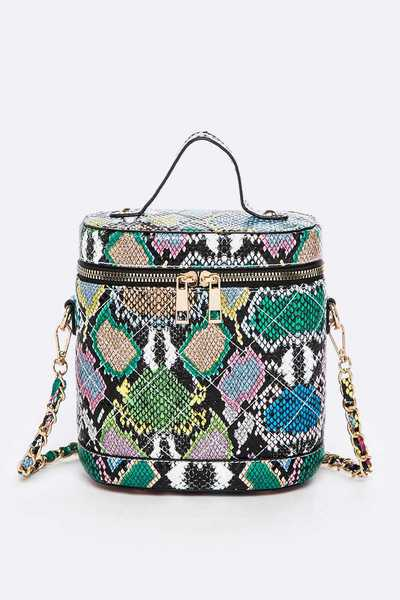 Snake Print Crossbody Bucket Bag