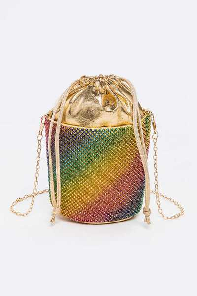 Rhinestone Rainbow Convertible Bucket Clutch