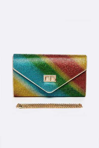 Crystal Turn Lock Convertible Clutch Bag