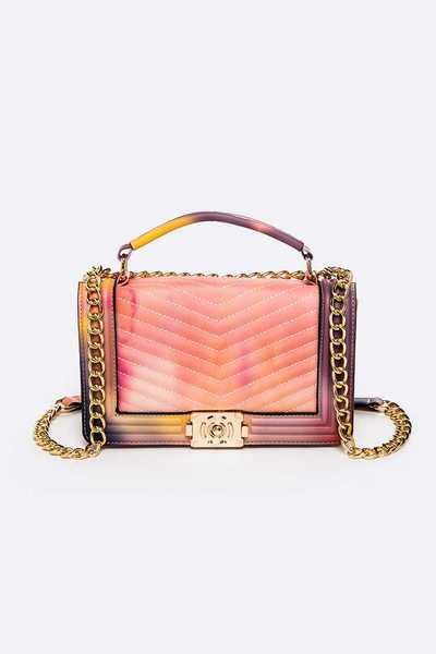 Opaque Mix Color Jelly Embossed Shoulder Bag