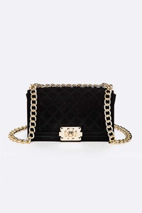 Velvet Quilted Iconic Shoulder Bag