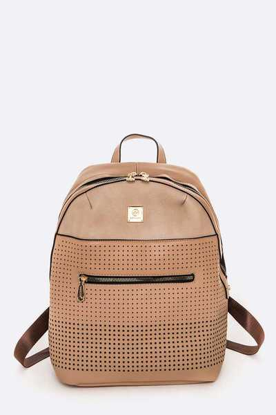 Perforated Mix Texture Fashion Backpack