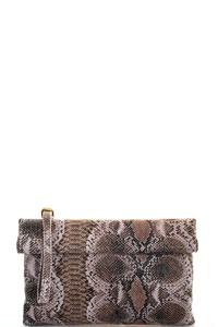 Triple 7 Street Level PYTHON PATTERN CLUTCH WITH LONG STRAP