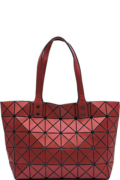 Matte Geometric Checkered Shopper