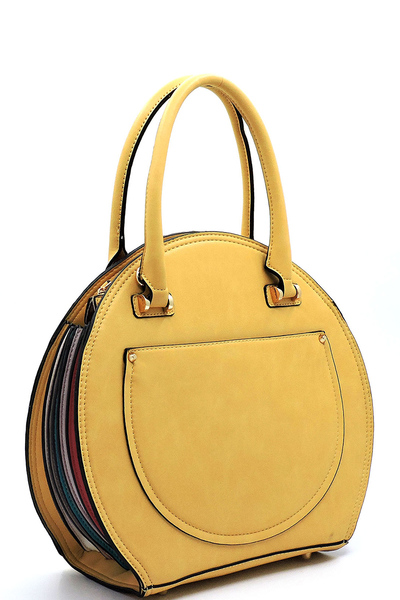 Multi Accordion Round Satchel