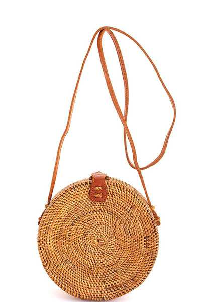 Street Level Natural Woven Round Crossbody Bag