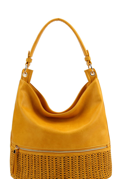 Woven Detail Front Pocket 2-Way Hobo