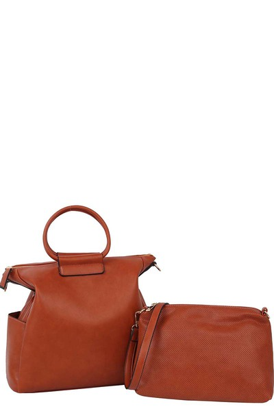 Round Top Handle 2-in-1 Satchel & Perforted Crossbody