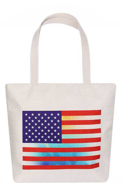 FASHION AMERICAN FLAG PRINT ECCO TOTE BAG
