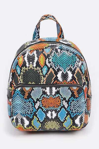 Mix Snake Print Small Back pack