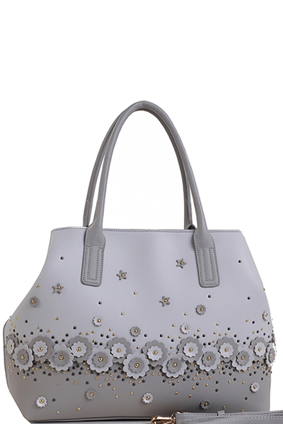 Designer Inspired Fashion Handbag Laser Cut Flower Tote