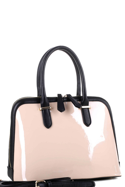 Two-Tone Patent 2-Way Dome Satchel