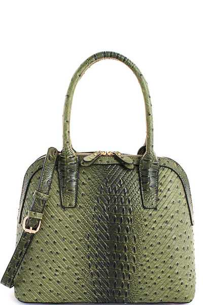 2in1 Fashion Croco Domed Satchel with Long Strap