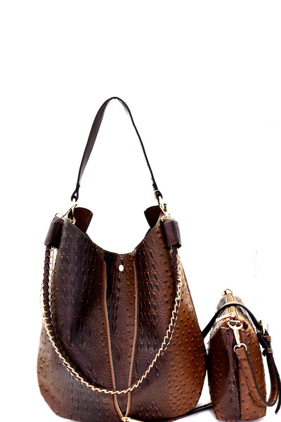 Chain Accent Ostrich Embossed 2 in 1 Expendable Hobo