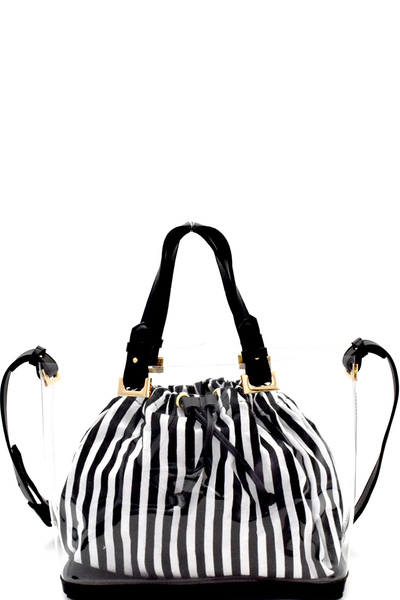 Pinstriped Drawstring Inner Bag 2 in 1  Satchel