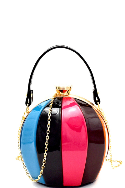 Multi-colored Patent Patchwork Ball-Shaped Medium Satchel