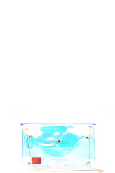 TRANSPARENT HOLOGRAPHIC CROSSBODY CLUTCH