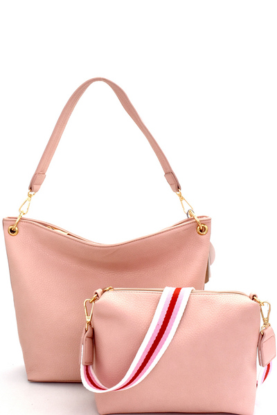 Striped Strap Accent 2 in 1 Hobo SET