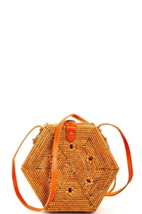 STYLISH HEXAGONAL NATURAL FIBER WOVEN CROSSBODY BAG