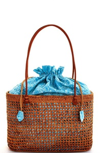 TRENDY NATURAL STRAW WOVEN FASHION TOTE BAG