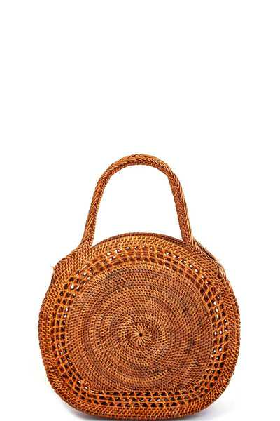 CHIC NATURAL FIBER WOVEN PURSE