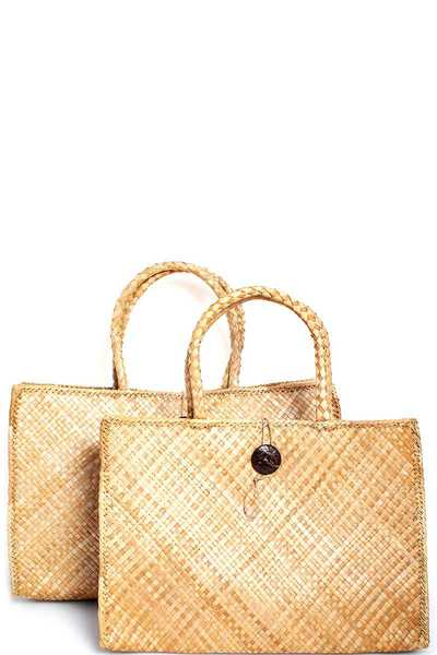2IN1 TRENDY NATURAL WOVEN TOTE SET