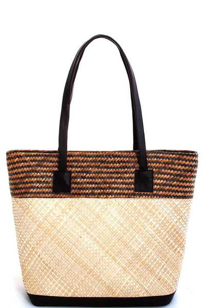 TRENDY TWO TONE NATURAL FIBER WOVEN TOTE BAG