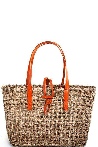 DESIGNER TRENDY NATURAL FIBER WOVEN TOTE BAG