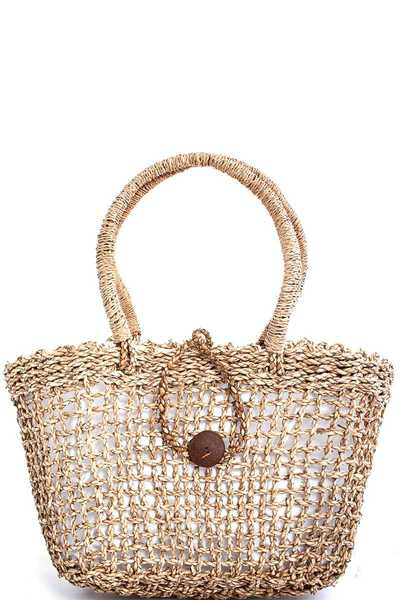FASHION NATURAL FIVER WOVEN SHOPPER BAG