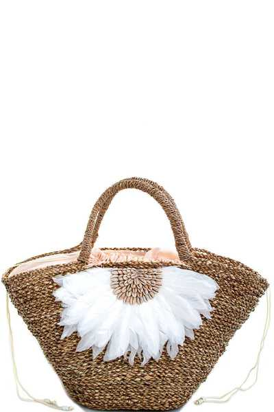 HOT TRENDY NATURAL FIBER WOVEN FLOWER SHOPPER BAG