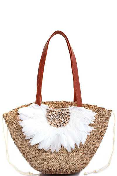 STYLISH NATURAL FIBER WOVEN FEATHER AND SEA SHELL SHOPPER