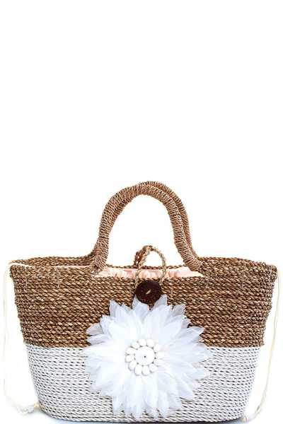 TWO TONE NATURAL FIBER WOVEN CHIC SHOPPER
